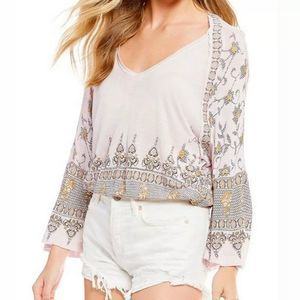 NWT FREE PEOPLE Lilac Medallion Print Top Small